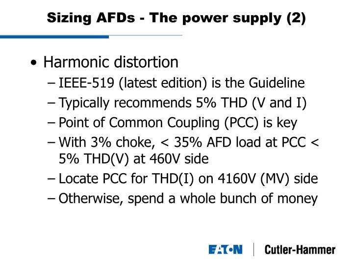 Sizing AFDs - The power supply (2)