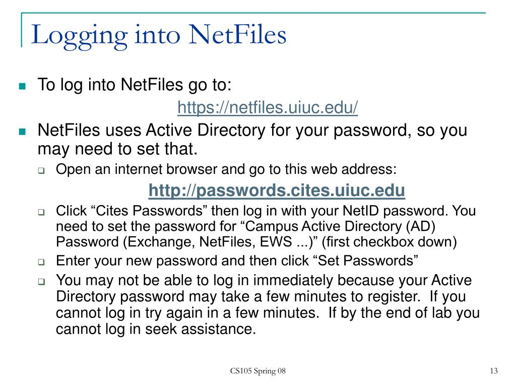 Logging into NetFiles