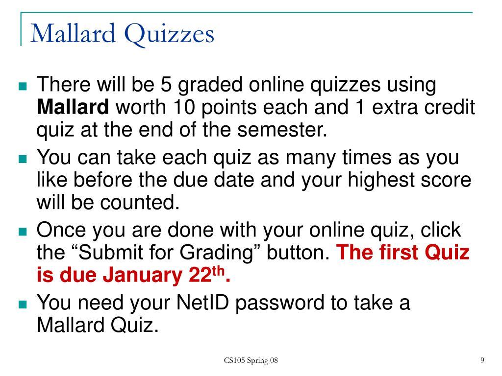 Mallard Quizzes