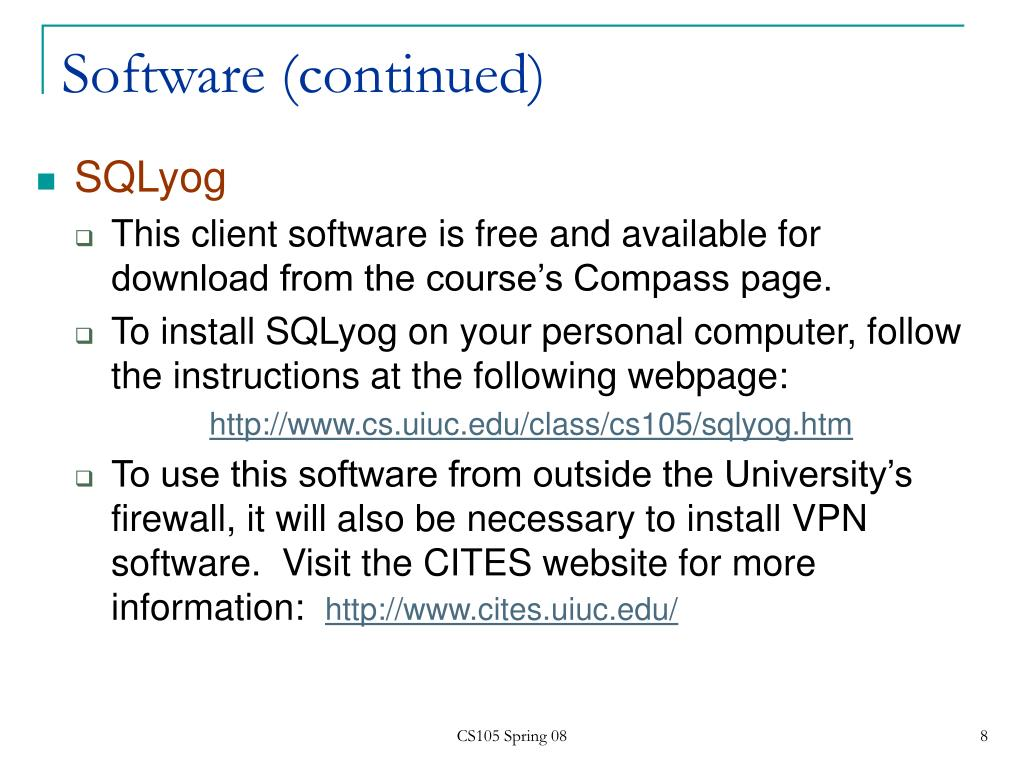 Software (continued)