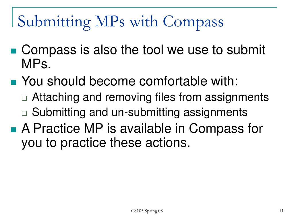 Submitting MPs with Compass
