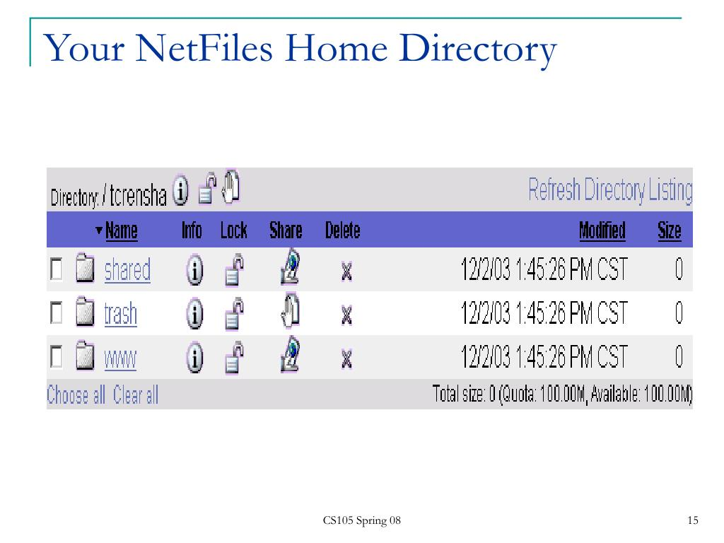 Your NetFiles Home Directory