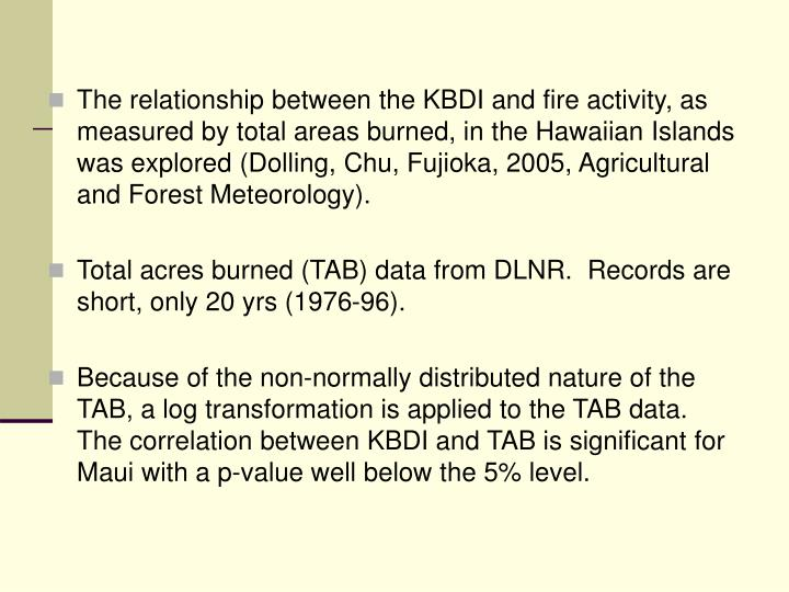 The relationship between the KBDI and fire activity, as measured by total areas burned, in the Hawaiian Islands was explored (Dolling, Chu, Fujioka, 2005, Agricultural and Forest Meteorology).