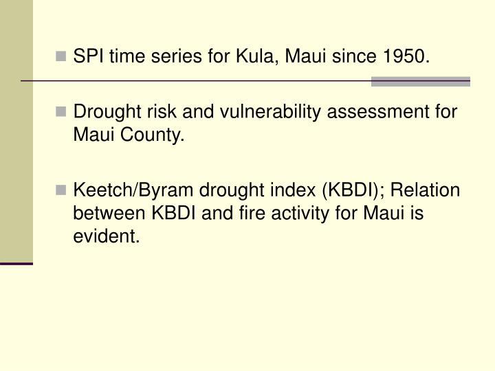 SPI time series for Kula, Maui since 1950.