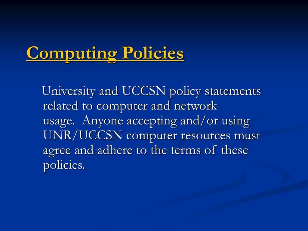 Computing Policies