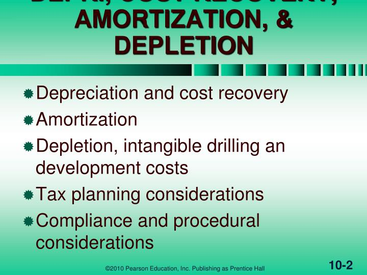 Depr cost recovery amortization depletion