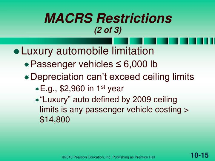 MACRS Restrictions