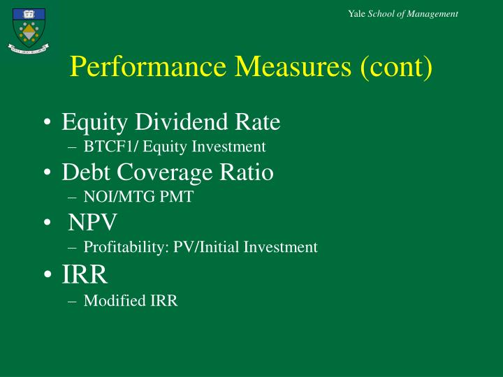 Performance Measures (cont)