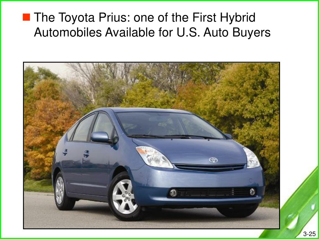 The Toyota Prius: one of the First Hybrid Automobiles Available for U.S. Auto Buyers