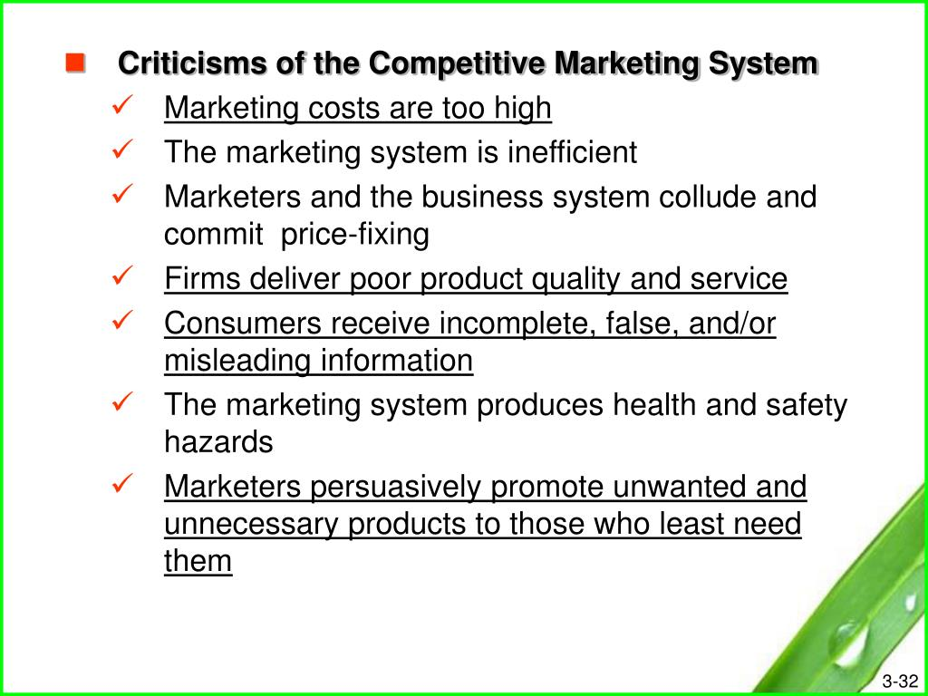Criticisms of the Competitive Marketing System