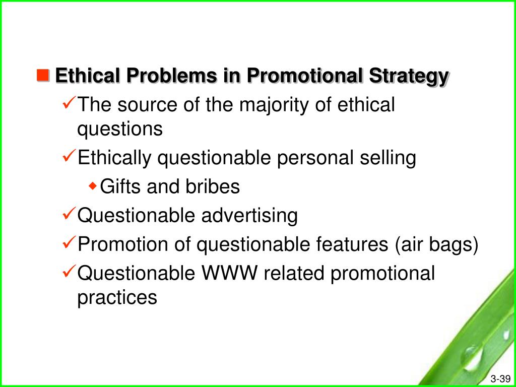 Ethical Problems in Promotional Strategy