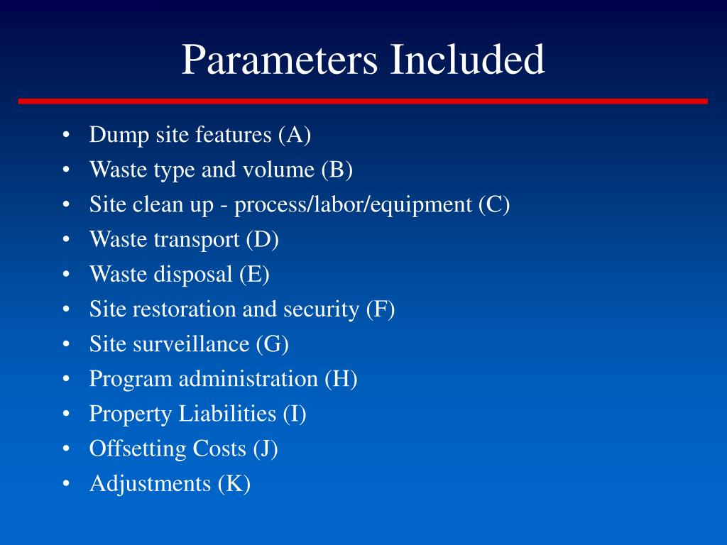 Parameters Included