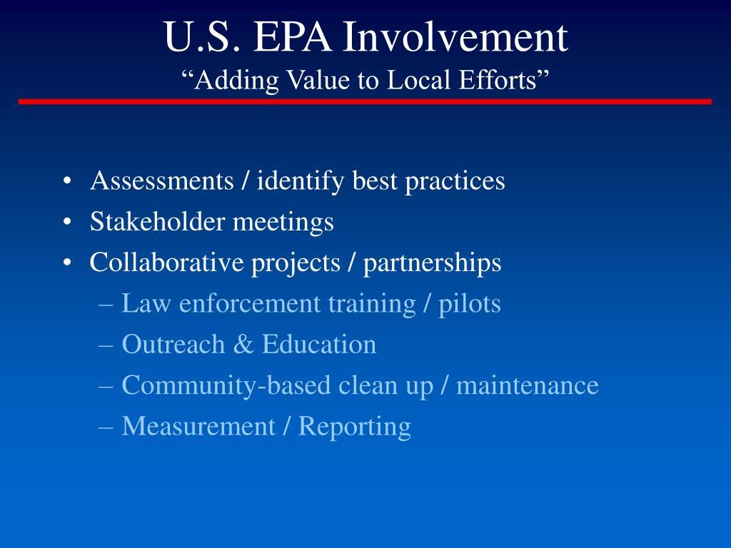 U.S. EPA Involvement