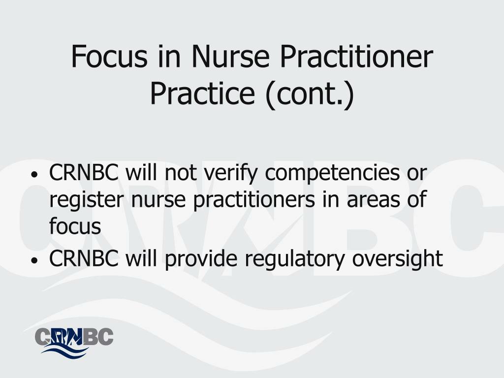 Focus in Nurse Practitioner Practice (cont.)
