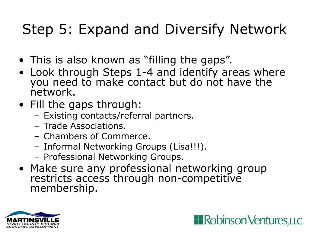 Step 5: Expand and Diversify Network