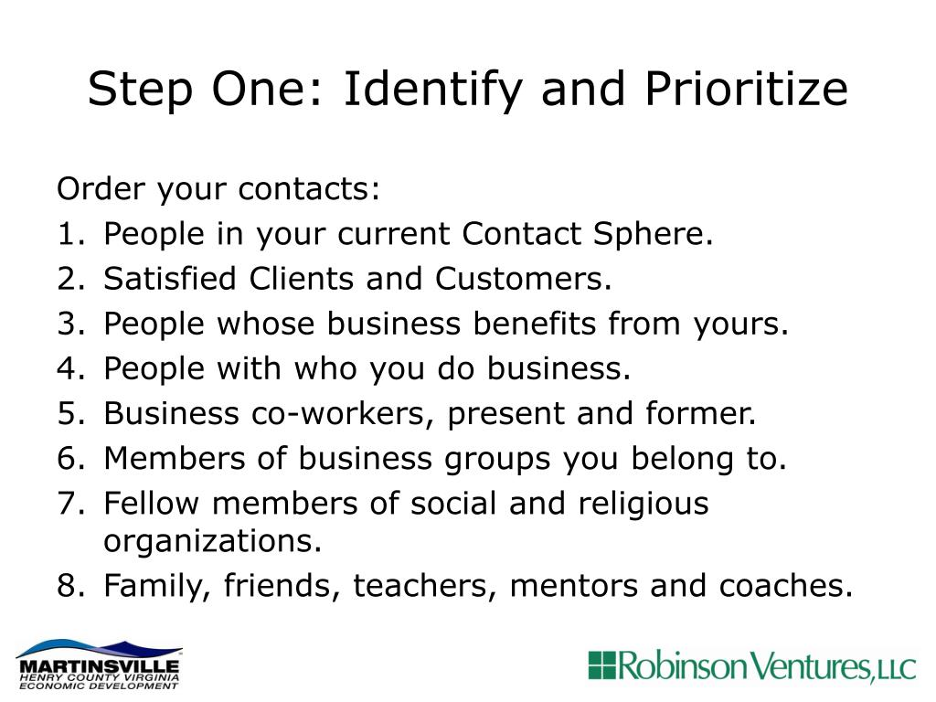 Step One: Identify and Prioritize