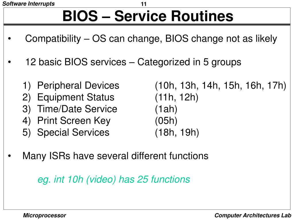 BIOS – Service Routines