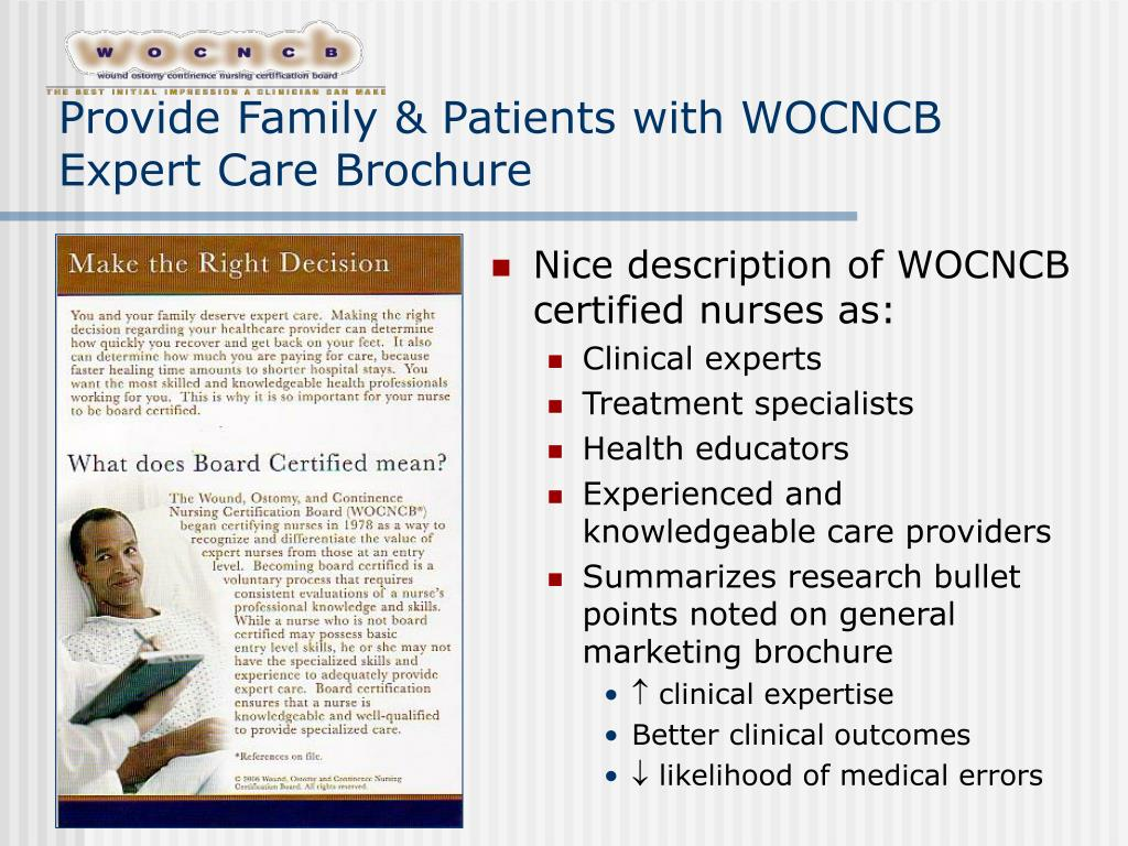 Provide Family & Patients with WOCNCB Expert Care Brochure