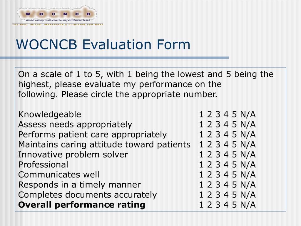 WOCNCB Evaluation Form