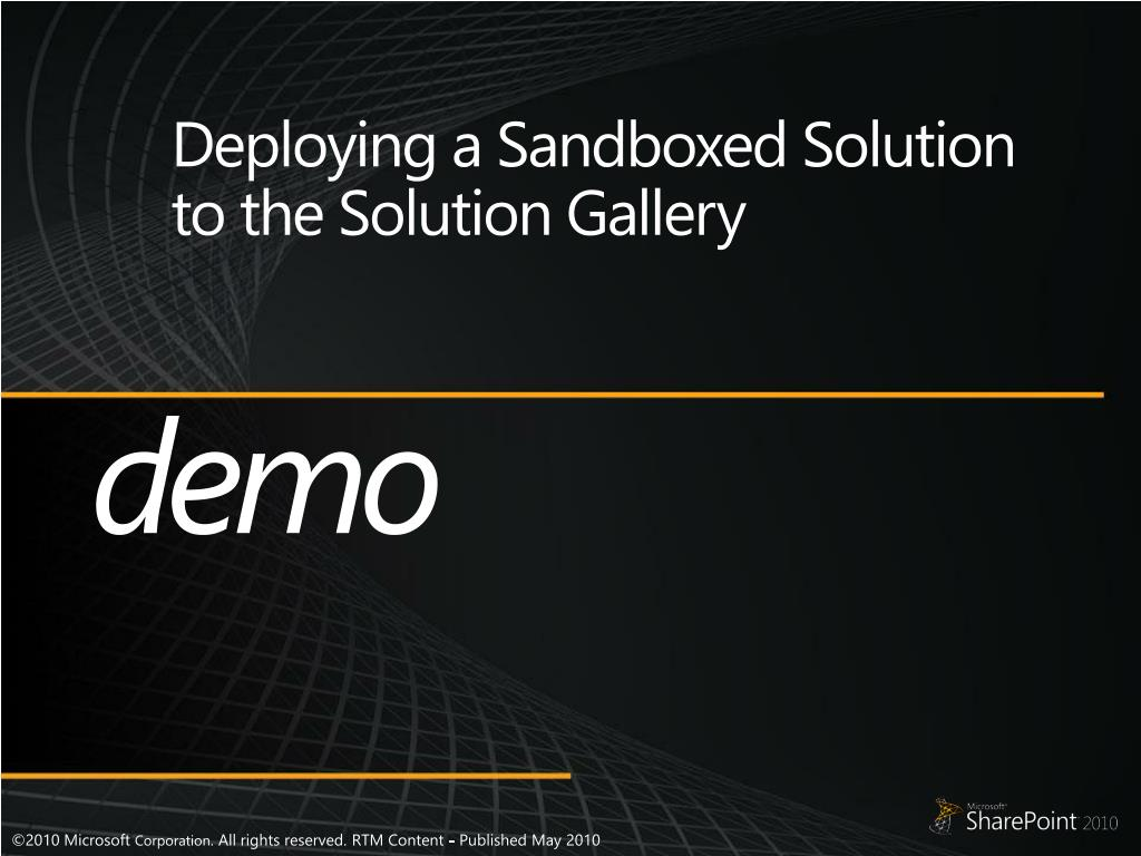 Deploying a Sandboxed Solution