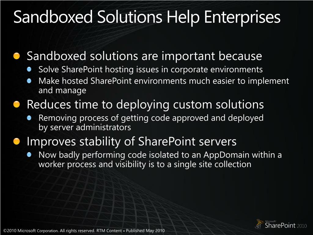 Sandboxed Solutions Help Enterprises