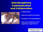 interdisciplinary communication and collaboration