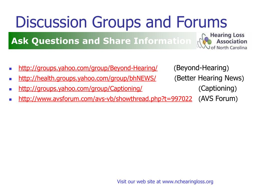 Discussion Groups and Forums