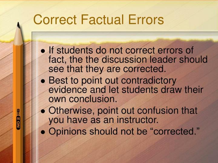 Correct Factual Errors