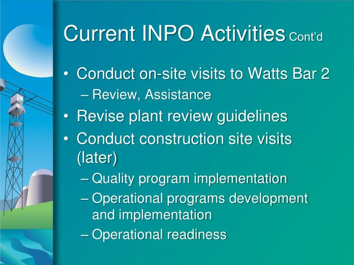 Current INPO Activities