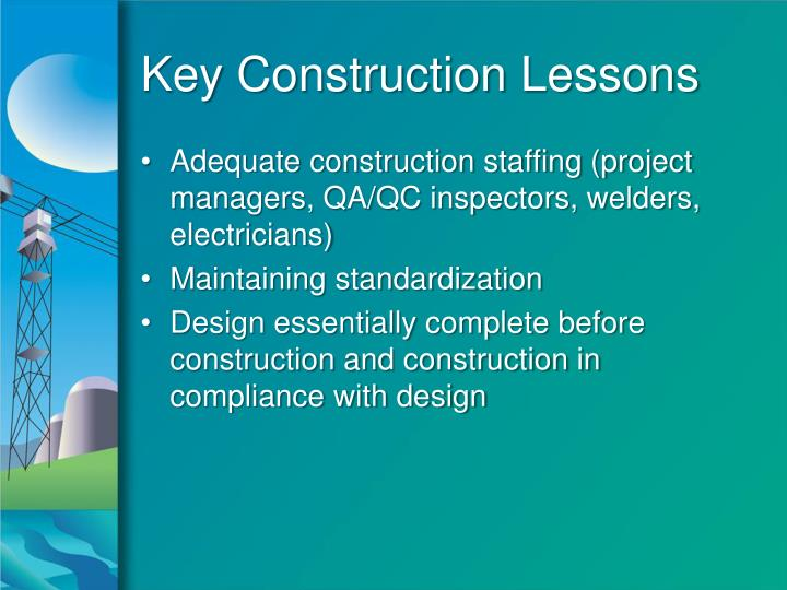 Key Construction Lessons