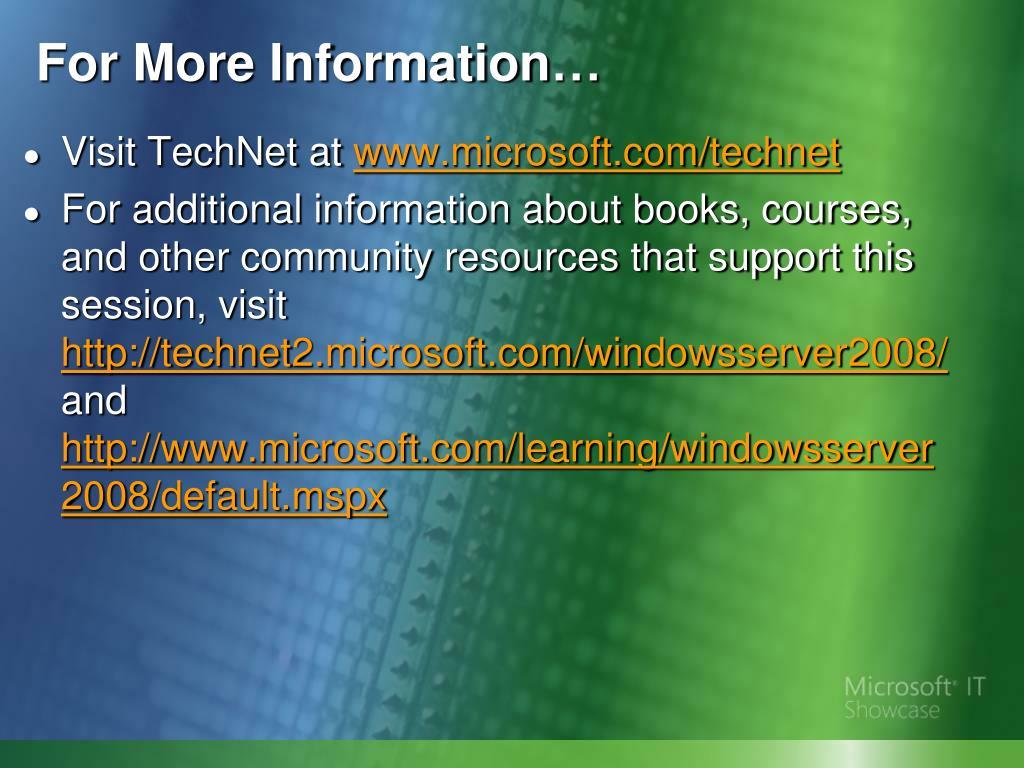 Visit TechNet at