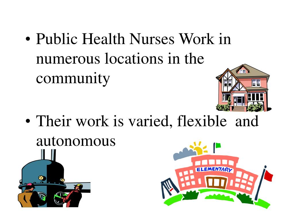 Public Health Nurses Work in numerous locations in the