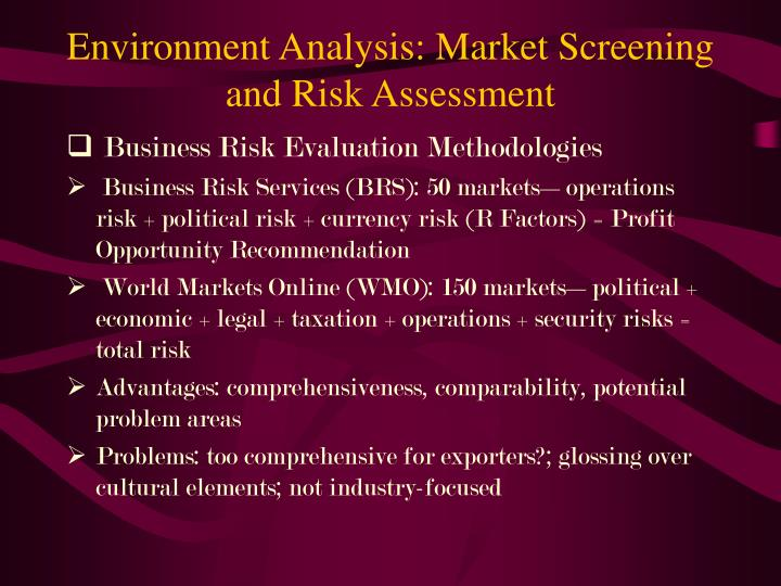 Environment Analysis: Market Screening and Risk Assessment