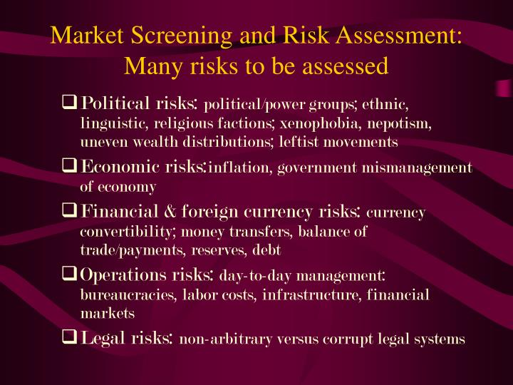 Market Screening and Risk Assessment: Many risks to be assessed