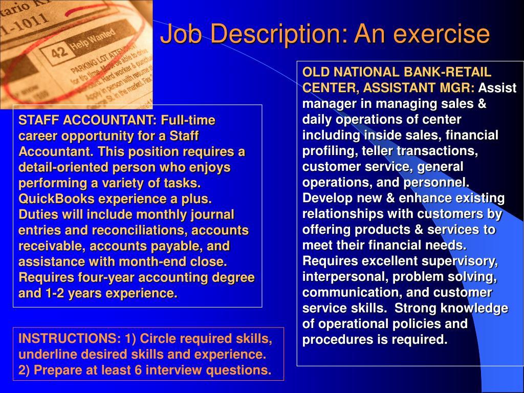 Job Description: An exercise