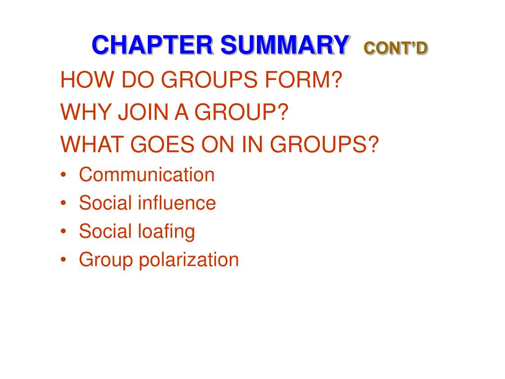 HOW DO GROUPS FORM?