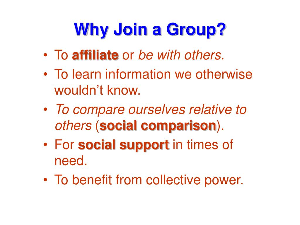 Why Join a Group?