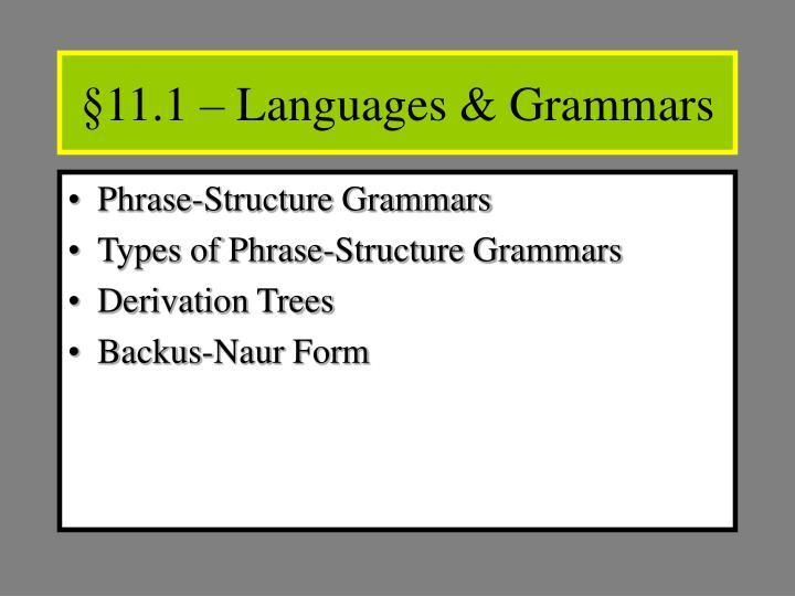 §11.1 – Languages & Grammars