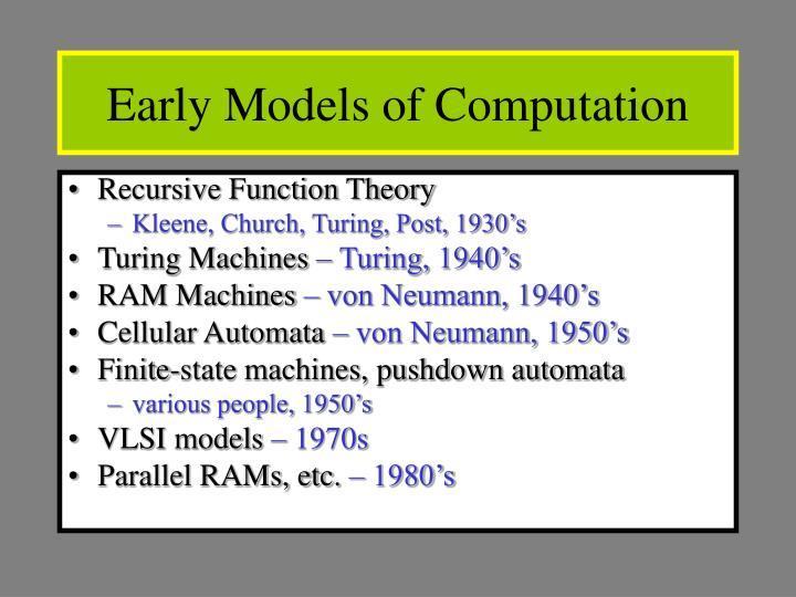 Early Models of Computation