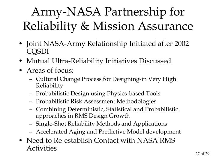 Army-NASA Partnership for Reliability & Mission Assurance