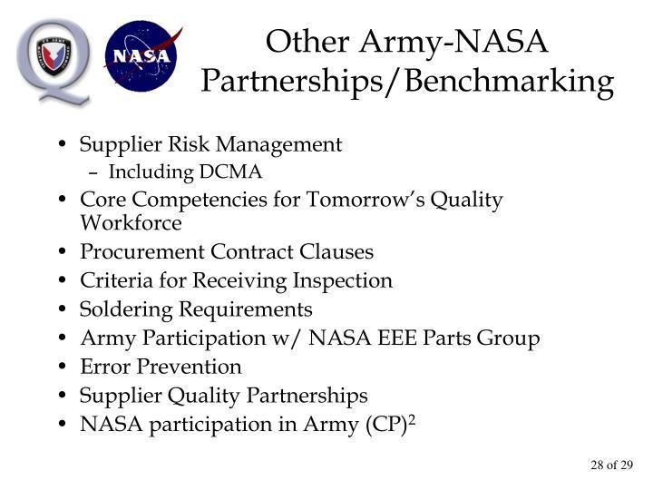 Other Army-NASA Partnerships/Benchmarking