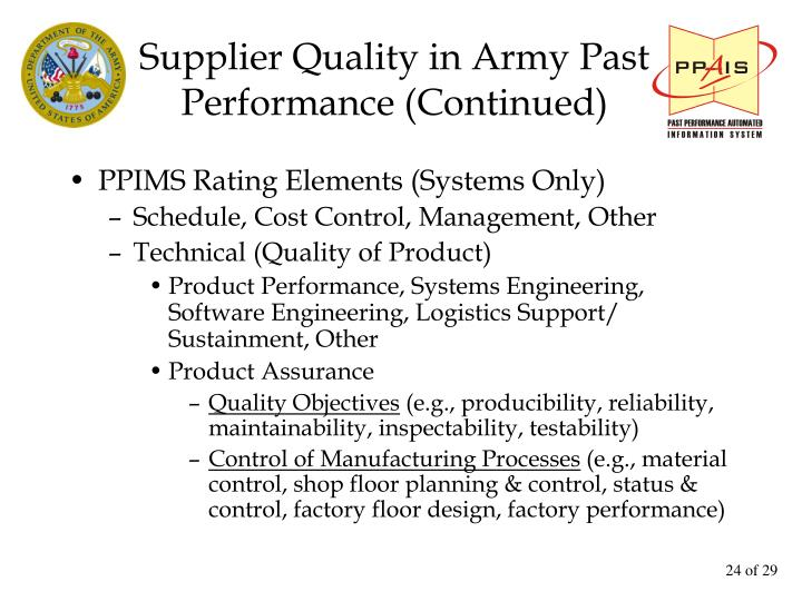 Supplier Quality in Army Past Performance (Continued)