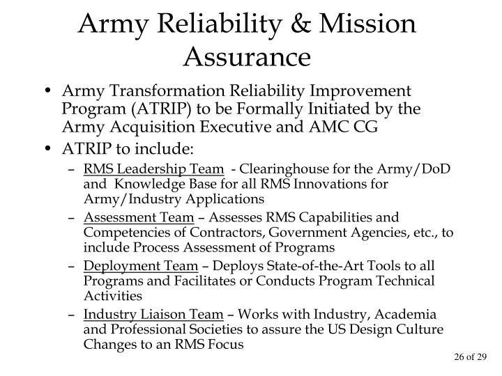 Army Reliability & Mission Assurance