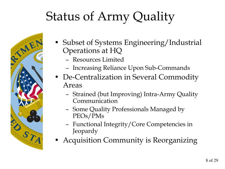 Status of Army Quality