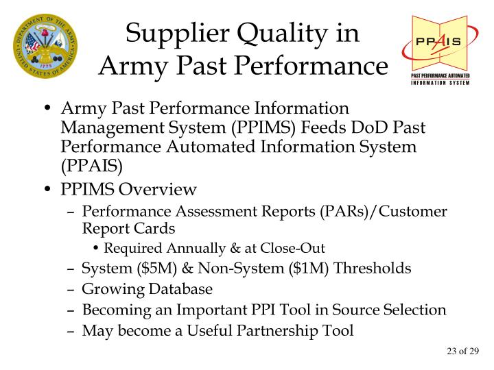 Supplier Quality in
