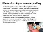 effects of acuity on care and staffing