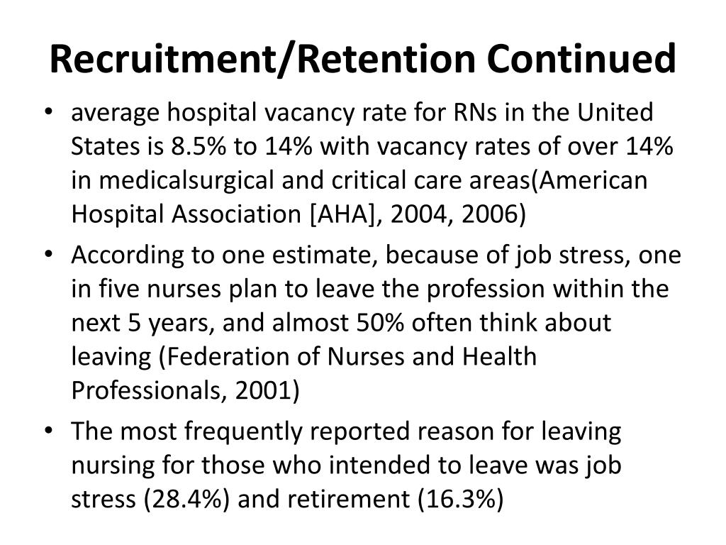 Recruitment/Retention Continued