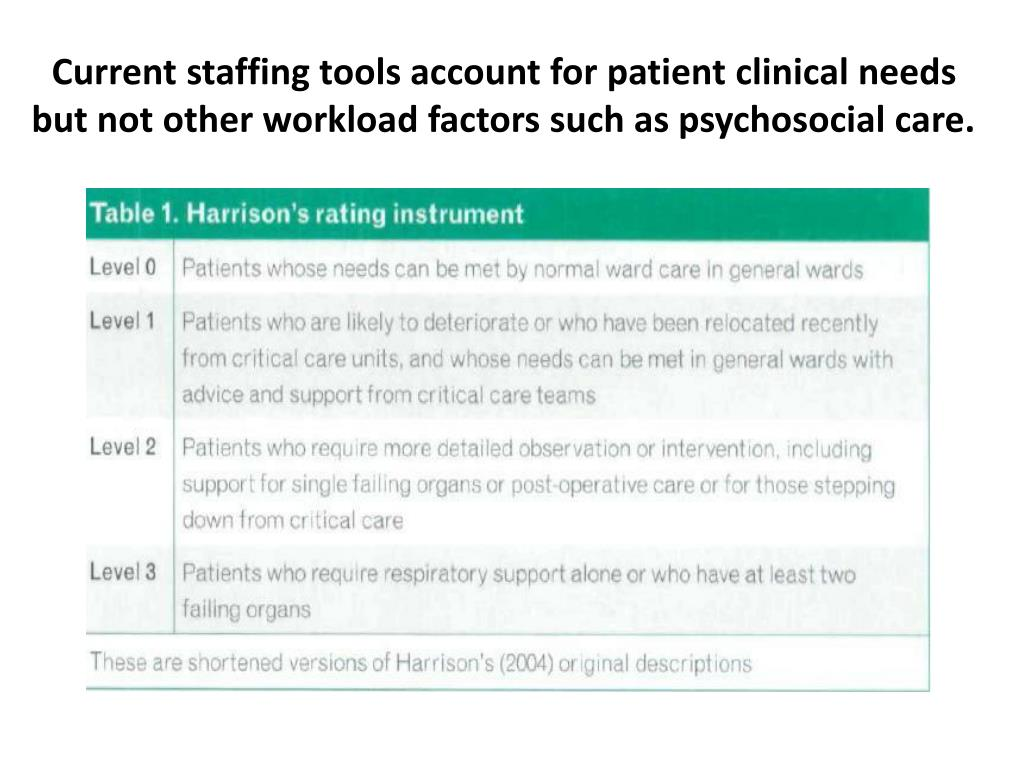 Current staffing tools account for patient clinical needs but not other workload factors such as psychosocial care.