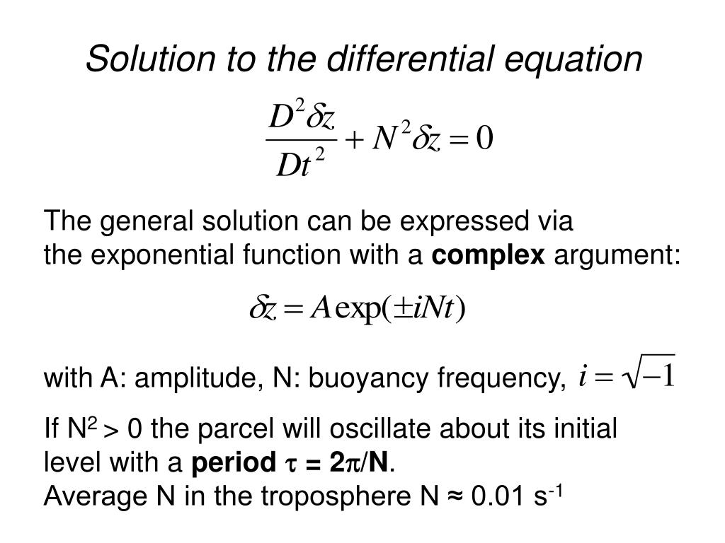 Solution to the differential equation