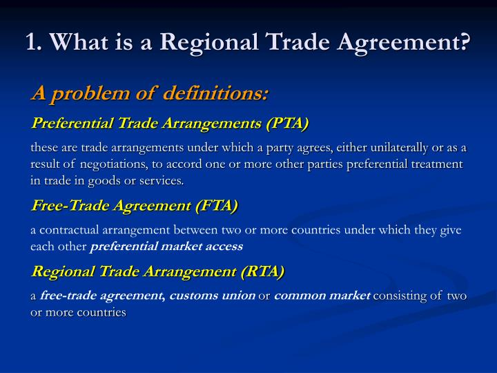 Regional trade agreements an analysis